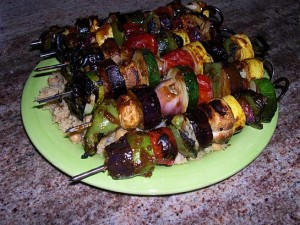 Kabobs veg cooked