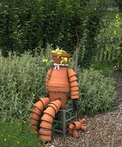 a farm pot scarecrow